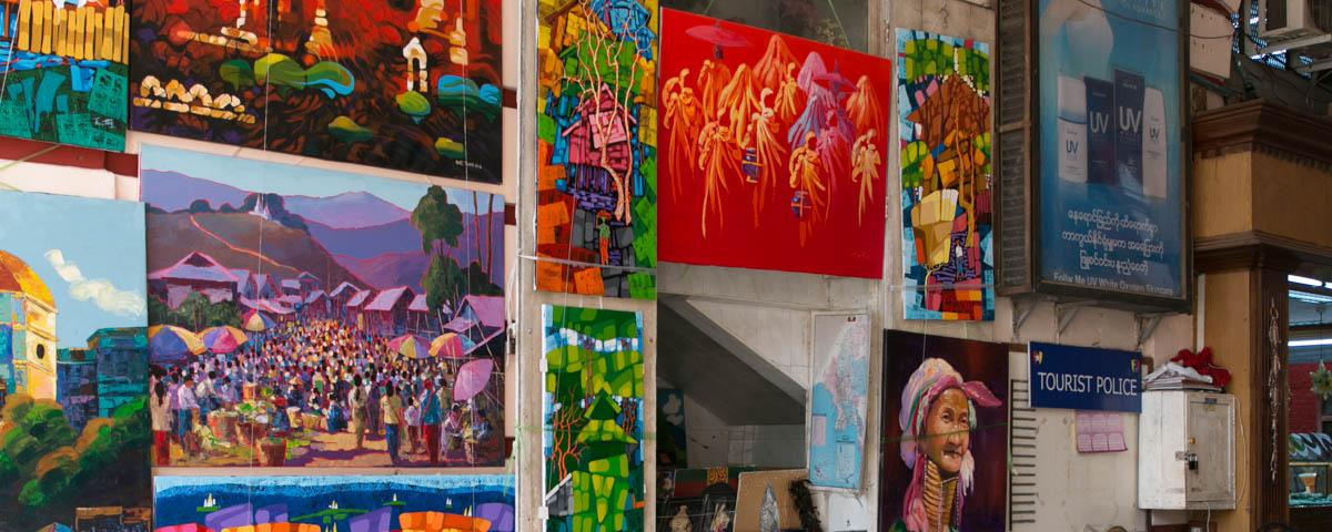 Myanmar-Yangon-Bogyoke_Aung_San_Market-Paintings_for_Sale