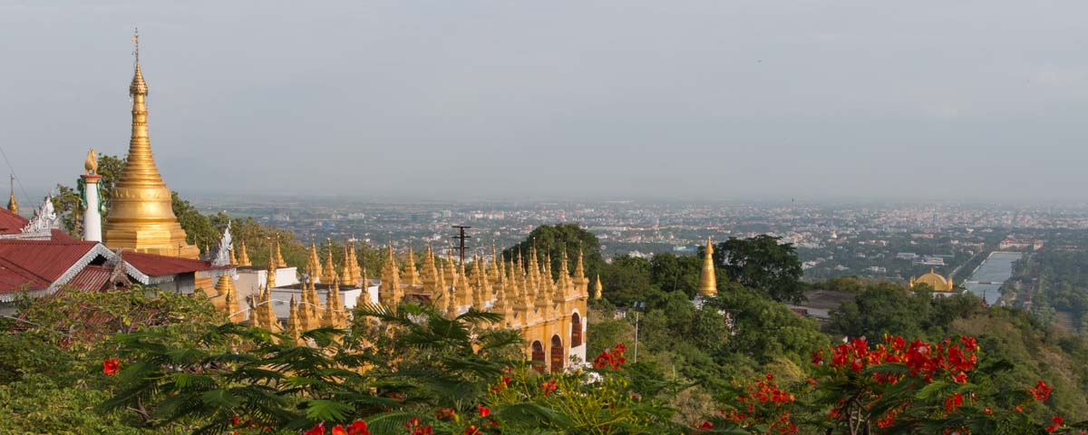 Myanmar - Mandalay - Mandalay Hill Pagoda, View to Mandalay