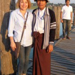 Myanmar-Amarapura-Sabine_Reis_and_Tour_Guide_at_U_Bein_Bridge